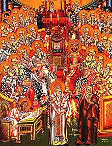 مشهد تخيلي للمجمع المسكوني في نيقية في العام 325 بعد الميلاد ..