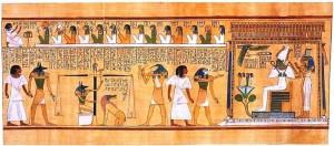 بردية  تبين مشهد الإله المصري حورس و هو يقدم شخصا ميتا للحساب أمام أوزوريس ..