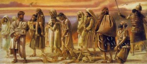 مشهد تخيلي للسبي البابلي لليهود على يد الملك العظيم نبوخذ نصر