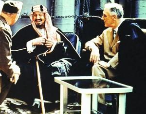 معاهدة كوينسي بين الرئيس الأمريكي روزفلت و الملك عبد العزيز