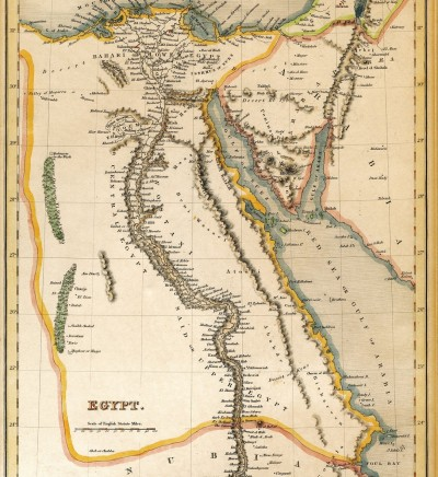 19074191-An-old-19th-century-map-engraved-and-printed-in-England-in-1845-depicting-Egypt-Jerusalem-in-the-nor-Stock-Photo