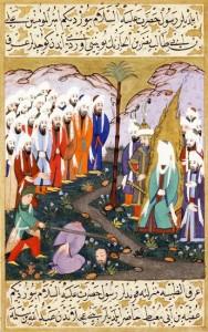 رسم عثماني لحادثة قتل النضر ابن الحارث لى يد علي ابن أبي طالب عقب أسره في معركة بدر