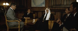 Henry Kissinger and King Faisal engage in talks over oil controversy.